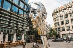 Prague, September 23, 2017: The sculpture of Franz Kafka stands near the shopping center called Quadrio above the metro. Prague, September 25, 2017: The stock image