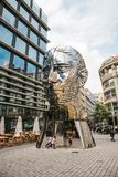 Prague, September 23, 2017: The sculpture of Franz Kafka stands near the shopping center called Quadrio above the metro Stock Image