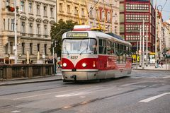 Prague, September 23, 2017: The tram is riding down the street in the city. Traditional street public transport in Royalty Free Stock Photo
