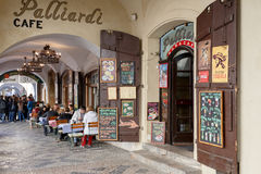 Prague shops and restaurants historic center Royalty Free Stock Photos