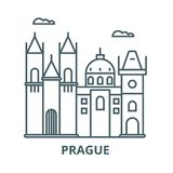 Prague sign vector line icon, linear concept, outline sign, symbol stock illustration