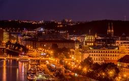 Prague sikt i natt Royaltyfri Bild