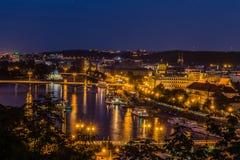 Prague sikt i natt Fotografering för Bildbyråer