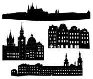 prague silhouette Arkivfoto