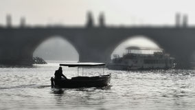 Prague. Silhouette of the Charles Bridge Stock Photography