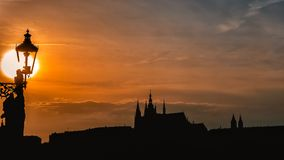 Prague Silhouettes. From the Charles Bridge, Czech Republic Royalty Free Stock Image