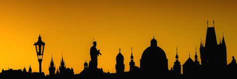 Prague Silhouettes from Charles Bridge Stock Photography