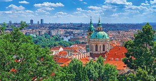 Prague skyline, Czech Republic. Mala Strana old district of Bohemia capital city with Saint Nicholas Church Stock Images