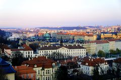 Prague skyline. Prague, Czech Republic in the sunset royalty free stock photography