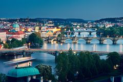 Prague skyline at dusk Royalty Free Stock Photography