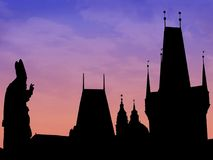 Prague skyline silhouette Stock Images