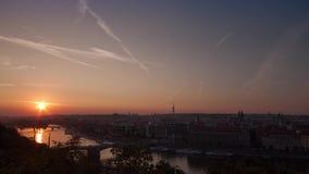 Prague Skyline after Sunrise stock video footage