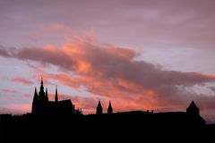 Prague skyline at sunset Stock Images