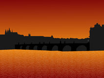 Prague skyline at sunset Royalty Free Stock Photos