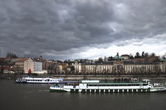Prague skyline before thunderstorm. Old Europe. River Stock Photo