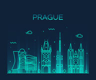 Prague skyline trendy vector illustration linear Stock Image