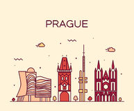 Prague skyline trendy vector illustration linear Royalty Free Stock Photo