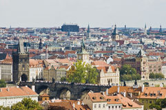 Prague skyline from view the castle. Royalty Free Stock Image