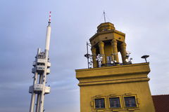 Prague skyline with Zizkov television tower transmitter, Czech republic Royalty Free Stock Images