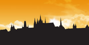 Prague skylines stock illustration