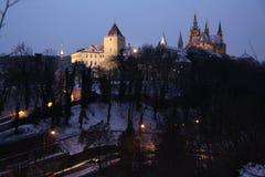 Prague slott på kullen Arkivfoto