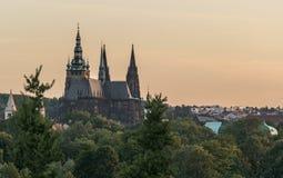 Prague slott, special vinkel Arkivfoto