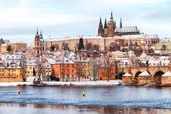Prague at snow time Royalty Free Stock Photo