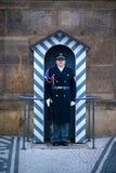 Prague Soldatvakt av heder nära presidentpalatset Arkivfoton