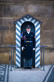 Prague. Soldier guard of honor near the Presidental palace. Stock Photos