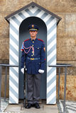 Prague. Soldier guard of honor near the Presidental palace. Royalty Free Stock Photo