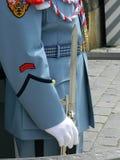 Prague soldier, castle guard,  uniform and bayonet Stock Photos