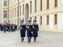 Prague. Soldiers guard of honor near the Presidental palace Stock Image