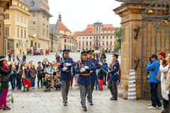 Prague. Soldiers guard of honor near the Presidental palace. Royalty Free Stock Photos