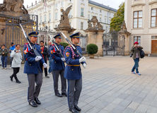 Prague. Soldiers guard of honor near the Presidental palace. Stock Photo