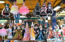 Prague souvenirs, traditional puppets made from wood in the gift shop. Prague is the capital and largest city of the Czech. Stock Image