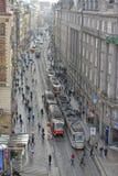 Prague spårvagnar Arkivfoto