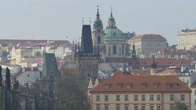 Prague Spires Old Town. Medieval towers and spires in old Prague town, in Czech Republic stock footage