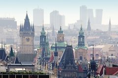 Prague - Spires of The Old Town and Office Highrises. Czech Republic, Prague - Spires of The Old Town and Office Highrises Stock Photo
