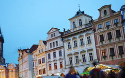 Prague square at dusk Royalty Free Stock Photography