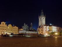 Prague square at night Royalty Free Stock Photography