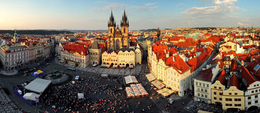 Prague square - Panorama of Old Town Stock Photography