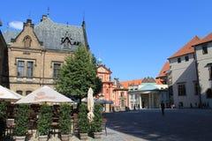 Prague - square at Prague castle. Square with restaurant near St Vitus cathedral at Prague castle Stock Photo