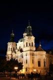 Prague St Mikulas Church Royaltyfri Bild
