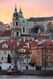 Prague St. Nicholas' Cathedral after Sunset, Czech Republic Stock Images