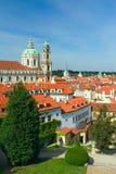 Prague. St.Nicolas Church. St.Nicolas Church i Prague. View from Vrtbovska garden Stock Photos