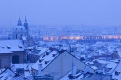 Prague - St. Nicolas church and rooftops of Mala Strana Stock Photos