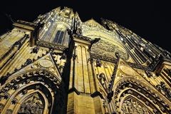 Prague. St. Vitus cathedral in darkness. Stock Photography