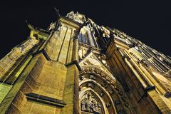 Prague. St. Vitus cathedral in darkness. Stock Photos