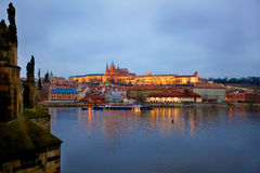 Prague St. Vitus Cathedral at evening Royalty Free Stock Photo