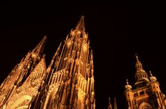 Prague St Vitus Cathedral at night royalty free stock photo